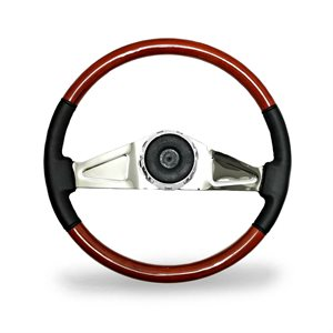 "STEERING WHEEL, 2 SPOKE, 18"" LEATHER / WOOD"