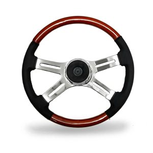 KW STEERING WHEEL, 4 SPOKE W / LEATHER, 18""