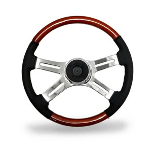 STEERING WHEEL, 4 SPOKE W / LEATHER, 18""