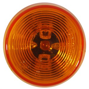 "2.5"" ROUND LED MARKER LIGHT, 3 DIODE, AMBER w / TWO WIRE SPADES"