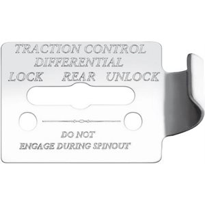"FREIGHTLINER SWITCH GUARD PLATE, -""TRACTION CONTROL DIFFERENTIAL, W / LOCK / REAR / UNLOCK"", FLD CLASSIC, ENGRAVED"